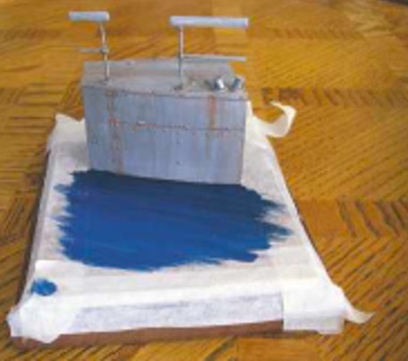 The initial shades of blue applied before adding the 'clear' gel.