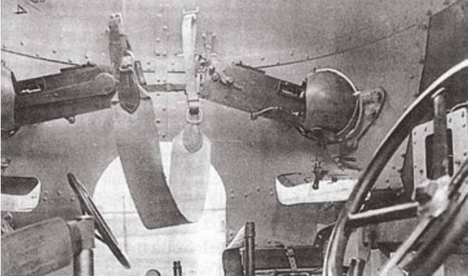 Above: An interesting (and rare) photo of the fighting compartment interior. The vehicle could be operated in either direction similar to the SdKfz 232 series of German armoured cars. (Photo source unknown)