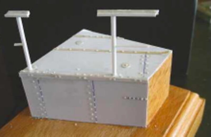 Hull, deck and fittings added, all made from plastic card, rod or strip.